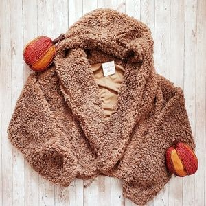 Mocha Teddy Bear Jacket With Hood Sherpa